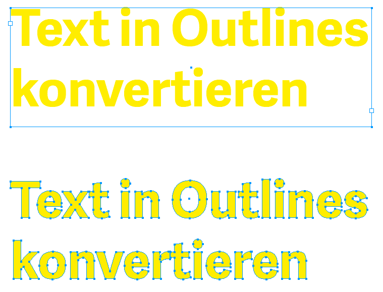 Editierbares Text und Text in Outlines